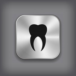 Tooth icon - vector metal app button