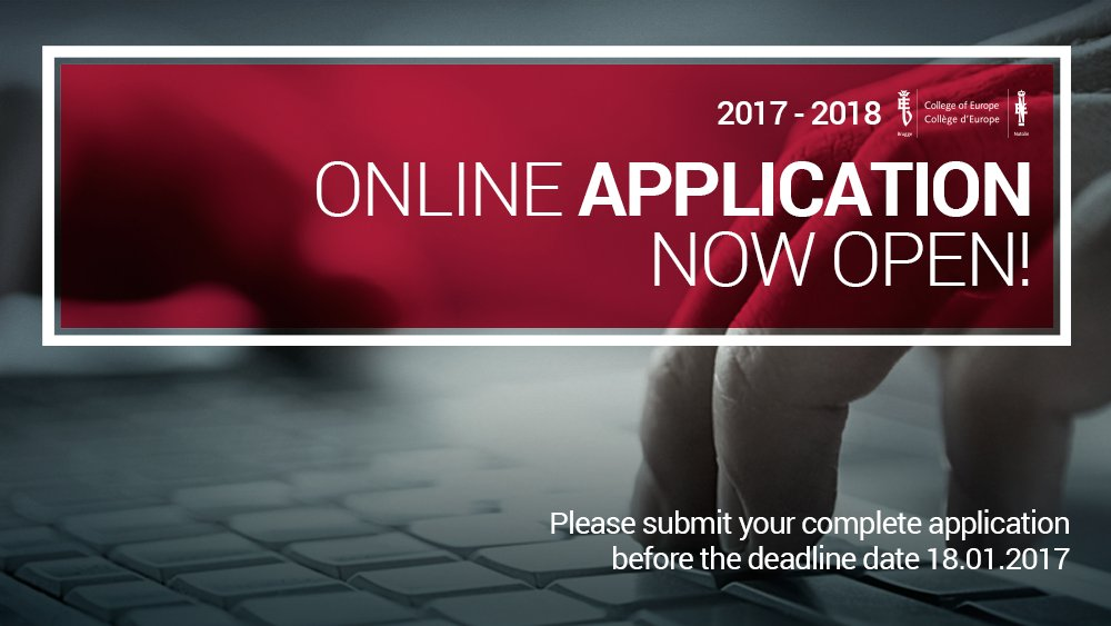 College of Europe: Online application for academic year 2017-2018 now open